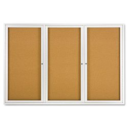"Enclosed Bulletin Board Natural CorkFiberboard 72"" x 48"" Aluminum Frame (QRT2367)"