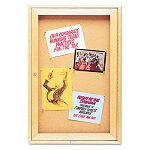 "Enclosed Bulletin Board Natural CorkFiberboard 24"" x 36"" Oak Frame (QRT363)"