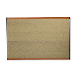 "Prestige Bulletin Board Graphite-Blend Cork 72"" x 48"" Cherry Frame (QRTB247LC)"