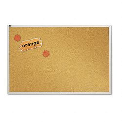 "Natural Cork Bulletin Board 96"" x 48"" Anodized Aluminum Frame (QRTECKA408)"