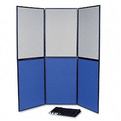 ShowIt Six-Panel Display System Fabric BlueGray Black PVC Frame (QRTSB93516Q)