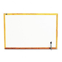 "Standard Dry-Erase Board Melamine 36"" x 24"" White Oak Finish Wood Frame (QRTS573)"