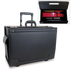 "Wheeled Catalog Case Leather-Trimmed Tufide 21-34"" x 15-12"" x 9-34"" Black (STB341626BLK)"