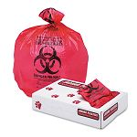 "Health Care ""Bio-hazard"" Printed Liners 1.3mil 24"" x 32"" Red Carton of 250 (JAGIW2432R)"