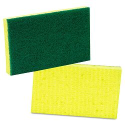 "Medium-Duty Scrubbing Sponge 3-12"" x 6-14"" YellowGreen Carton of 20 (MMM74)"