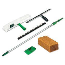 Pro Window Cleaning Kit with 8-ft. Pole Scrubber Squeegee Scraper Sponge (UNGPWK00)