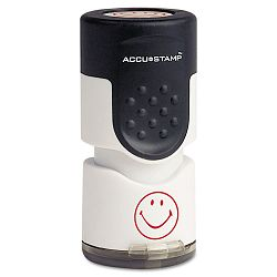 "Accustamp Pre-Inked Round Stamp with Microban Smiley 58"" dia. Red (COS030725)"
