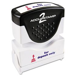 "Accustamp2 Shutter Stamp with Microban RedBlue FOR DEPOSIT ONLY 1 58"" x 12"" (COS035523)"