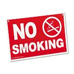 "Economy No Smoking Wall Sign Plastic 12"" x 8"" Red (AVT83639)"