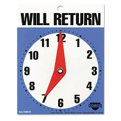"Will Return Later Sign 5"" x 6"" Blue (COS098010)"