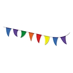Strung Flags Pennant 30' Assorted Bright Colors (COS098182)