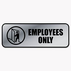 "Brushed Metal Office Sign Employees Only 9"" x 3"" Silver (COS098206)"