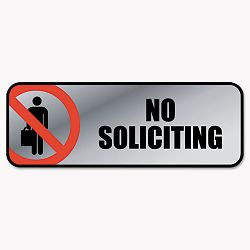 "Brushed Metal Office Sign No Soliciting 9"" x 3"" SilverRed (COS098208)"