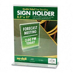 "Acrylic Sign Holder 8-12"" x 11"" Clear (NUD38020)"