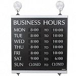 "Century Series Business Hours Sign Heavy-Duty Plastic 13"" x 14"" Black (USS4247)"