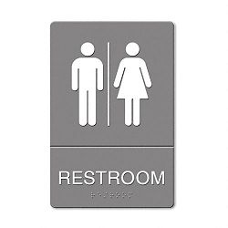 "ADA Sign Restroom Symbol Tactile Graphic Molded Plastic 6"" x 9"" Gray (USS4812)"