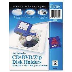 Self-Adhesive CDDVDZip Disk Pockets Pack of 10 (AVE73721)