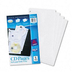 Two-Sided CD Organizer Sheets for Three-Ring Binder Pack of 5 (AVE75263)