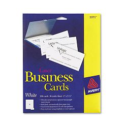 "Laser Business Cards 2"" x 3 12"" White 10 CardsSheet Pack of 250 (AVE5371)"