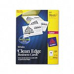"Clean Edge Laser Business Cards 2"" x 3 12"" White 10Sheet Box of 400 (AVE5877)"