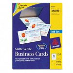 "Inkjet Matte Business Cards 2"" x 3 12"" White 10Sheet Pack of 250 (AVE8371)"