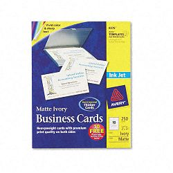 "Inkjet Matte Business Cards 2"" x 3 12"" Ivory 10Sheet Pack of 250 (AVE8376)"
