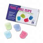 Fabric Panel Wall Clips Standard Size Assorted Cool Colors Pack of 20 (AVT75307)