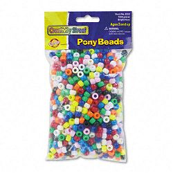 Pony Beads Plastic 6mm x 9mm Assorted Colors Pack of 1000 (CKC3552)