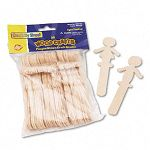 "People-Shaped Wood Craft Sticks 5 38"" Wood Natural Pack of 36 (CKC364502)"