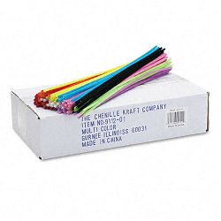 "Regular Stems 12"" x 4mm Metal Wire Polyester Assorted Box of 1000 (CKC911201)"