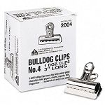 "Bulldog Clips Steel 1"" Capacity 3""w Nickel-Plated Box of 12 (EPI2004)"