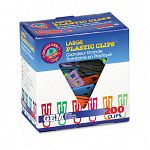 "Paper Clips Plastic Large (1-38"") Assorted Colors Box of 200 (GEMPC0600)"
