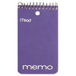 "Memo Book College Ruled 3"" x 5"" Wirebound Punched 60 Sheets Assorted (MEA45354)"