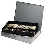 Extra-Wide Steel Cash Box with 10 Compartments Key Lock Gray (MMF2215CBTGY)