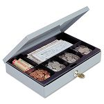 Heavy-Duty Steel Low-Profile Cash Box with 6 Compartments Key Lock Gray (MMF221618001)
