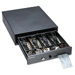 Compact Steel Cash Drawer with Spring-Loaded Bill Weights Disc Tumbler Lock Black (MMF225104604)