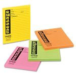"Super Sticky Message Pads 3-78"" x 4-78"" Lined Neon 4 50-Sheet PadsPack (MMM76794SS)"