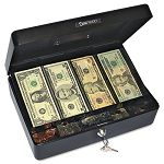 Select Spacious Size Cash Box 9-Compartment Tray 2 Keys Black with Silver Handle (PMC04804)