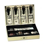 Steel Cash Box with 6 Compartments Three-Number Combination Lock Pebble Beige (PMC04961)