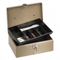 Lock'n Latch Steel Cash Box with 7 Compartments Key Lock Pebble Beige (PMC04963)