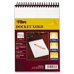 "Docket Gold Spiral Steno Book Gregg Rule 6"" x 9"" White 100 SheetsPad (TOP99708)"