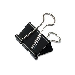 "Medium Binder Clips Steel Wire 58"" Cap. 1-14"" Wide BlackSilver Dozen (UNV10210)"