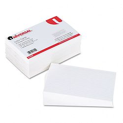 "Ruled Index Cards 5"" x 8"" White Pack of 500 (UNV47255)"