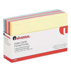 "Index Cards 5"" x 8"" BlueSalmonGreenCherryCanary Pack of 250 (UNV47256)"