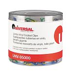 Paper Clips Vinyl Coated Wire Jumbo Assorted Colors Pack of 250 (UNV95000)