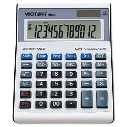 6500 Executive Desktop Loan Calculator 12-Digit LCD BlackSilver (VCT6500)
