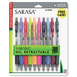 Sarasa Roller Ball Retractable Gel Pen Asstored Ink Medium Pack of 10 (ZEB46881)
