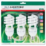 Spiral Soft White Energy Saver Compact Fluorescent Bulb 25 Watts Pack of 3 (SLT26173)