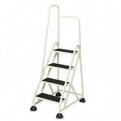 Four-Step Stop-Step Folding Aluminum Handrail Ladder Beige (CRA1041L19)