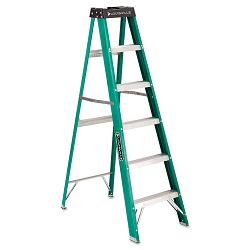 #592 Six-Foot Folding Fiberglass Step Ladder GreenBlack (DADFS4006)